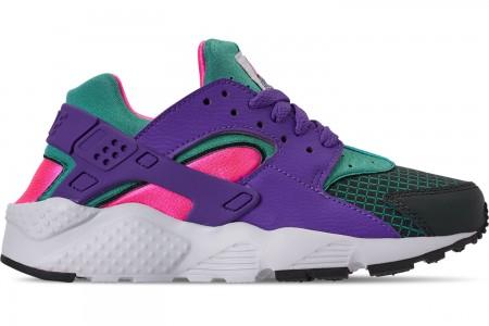 Nike Girls' Big Kids' Nike Huarache Run Now Casual Shoes - Outdoor Green/Hyper Grape/Cabana