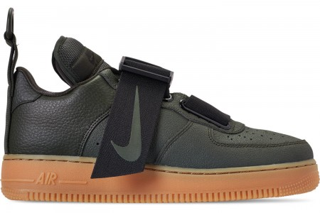 Nike Men's Air Force 1 Utility Casual Shoes - Sequoia/Black/Gum Medium Brown