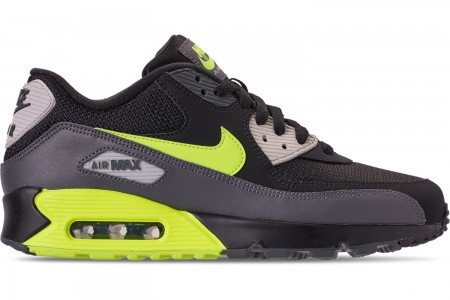 Nike Men's Air Max 90 Essential Casual Shoes - Dark Grey/Volt/Black/Light Bone