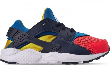 Nike Boys' Little Kids' Nike Huarache Run Now Casual Shoes - Bright Crimson/Obsidian/Photo Blue