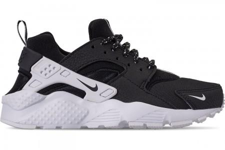 Nike Boys' Big Kids' Nike Air Huarache Run SE Casual Shoes - Black/Black/White