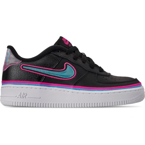 Nike Boys' Big Kids' Air Force 1 '07 LV8 Sport Casual Shoes - Black/Blue Gale/Laser Fuchsia/ White