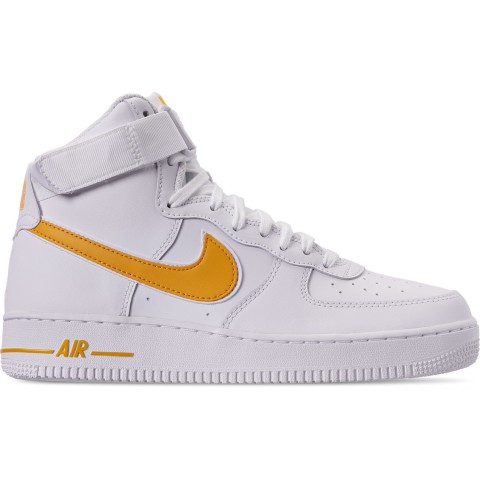 Nike Men's Air Force 1 High '07 3 Casual Shoes - White/University Gold