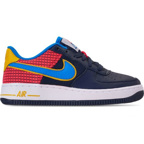Nike Boys' Big Kids' Air Force 1 Now Casual Shoes - Obsidian/Photo Blue/Bright Crimson