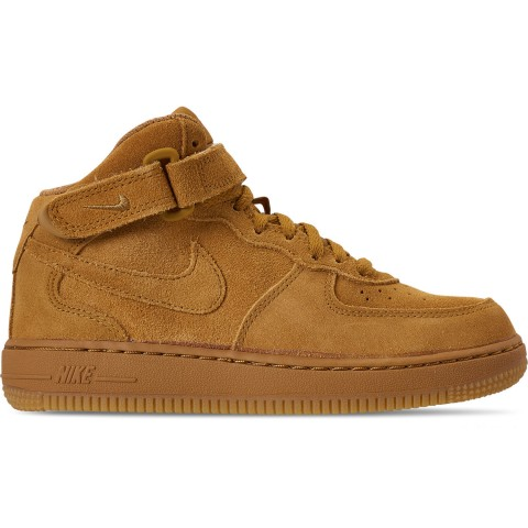 Nike Boys' Little Kids' Air Force 1 Mid LV8 Casual Shoes - Wheat/Wheat/Gum Light Brown
