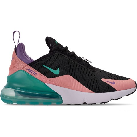 Nike Men's Air Max 270 Casual Shoes - Black/Hyper Jade/Bleached Coral
