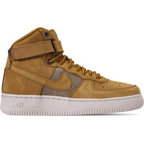 Nike Boys' Big Kids' Air Force 1 High Premium Casual Shoes - Wheat/Khaki/Light Bone/Yellow Ochre