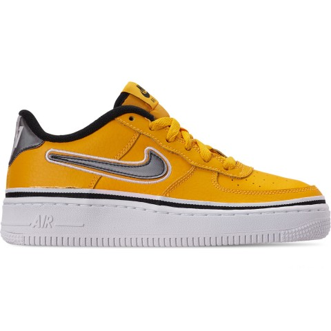 Nike Boys' Big Kids' Air Force 1 '07 LV8 Sport Casual Shoes - University Gold/Black/White