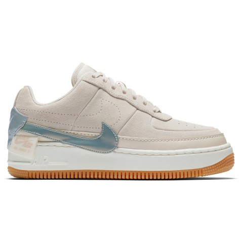 Nike Women's Air Force 1 Jester Low Casual Shoes - Desert Sand/Metallic Silver/Sail