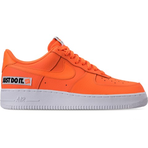 Nike Men's Air Force 1 '07 LV8 JDI Leather Casual Shoes - Total Orange/White/Black