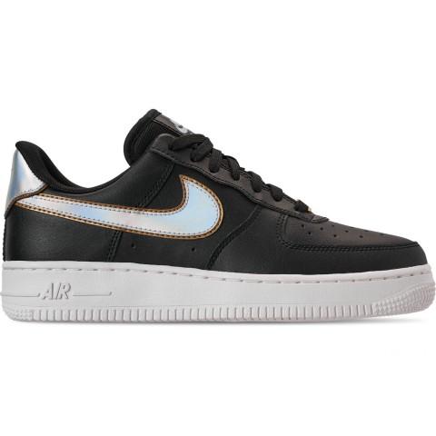 Nike Women's Air Force 1 '07 Metallic Casual Shoes - Black/Metallic Platinum/Summit White