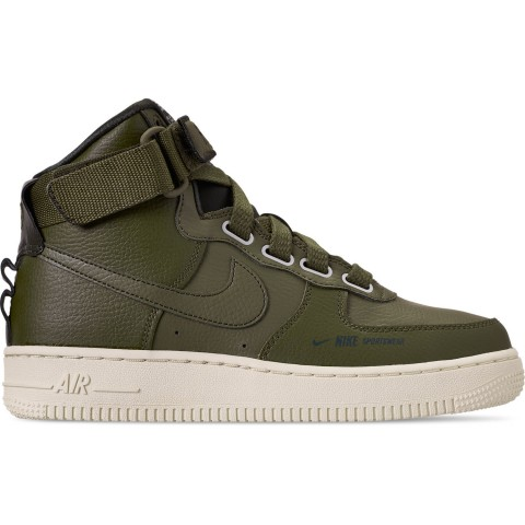 Nike Women's Air Force 1 High Utility Casual Shoes - Olive Canvas/Light Cream