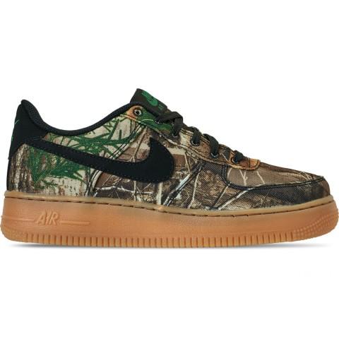 Nike Boys' Big Kids' Air Force 1 LV 8 3 Casual Shoes - Black/Aloe Verde/Gum Medium Brown