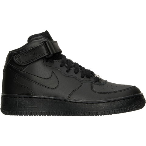 Nike Big Kids' Air Force 1 Mid Casual Shoes - Black/Black